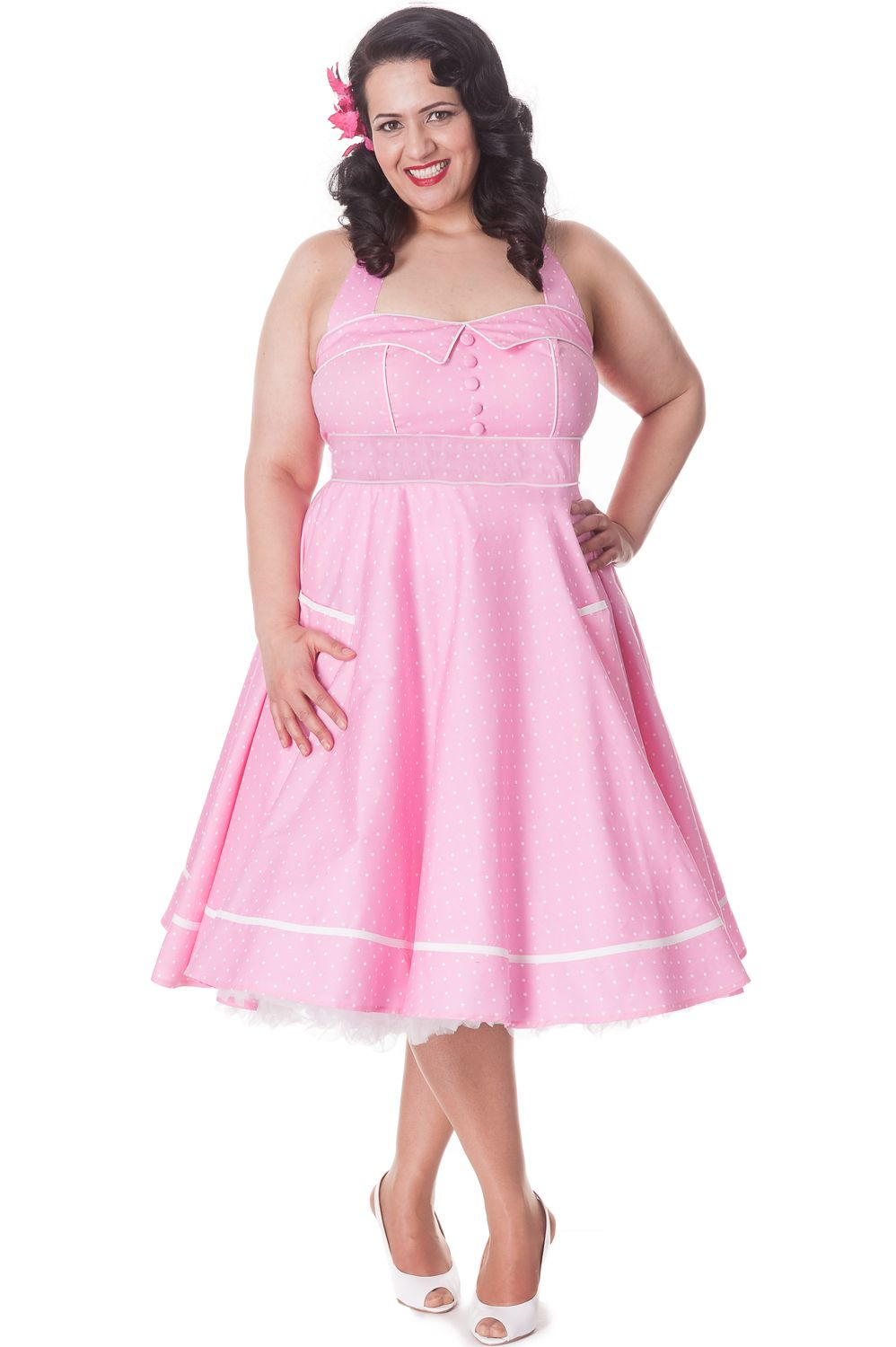 9b09949a28f437 Pink Olivie Polka Dot Swing Dress by Hell Bunny | Pretty In Pink ...