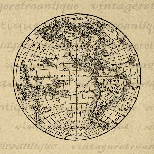 Antique Earth Digital Globe Printable Map Graphic Globe Vintage - Printable globe map of the world
