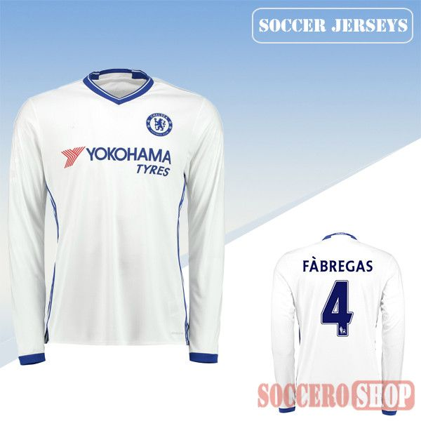 latest chelsea whiteblue 2016 2017 third long sleeve soccer jersey with fabregas 4 printing