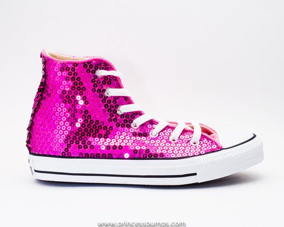105b7610501073 Hot Fuchsia Pink Sequin Converse All Star Hi Top Canvas Sneaker Shoe on  Etsy