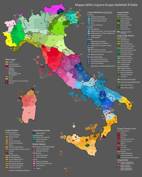 Map Of Languages And Dialect Groups Of Italy Mit Bildern