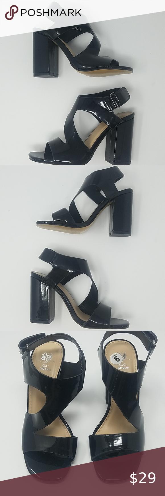 G.C. Shoes | Black Shiny Block Heel