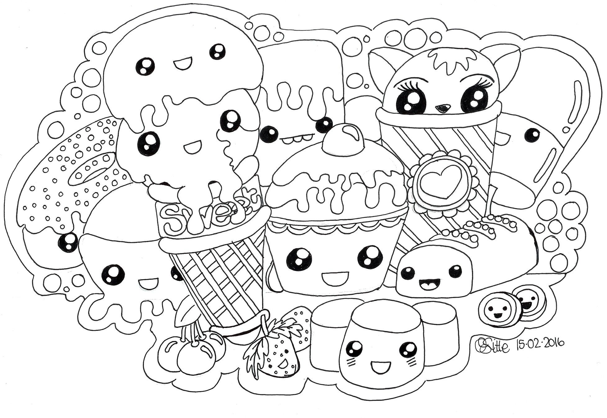 Cute Unicorn Coloring Pages To Print Fresh Kawaii Cat Page Free