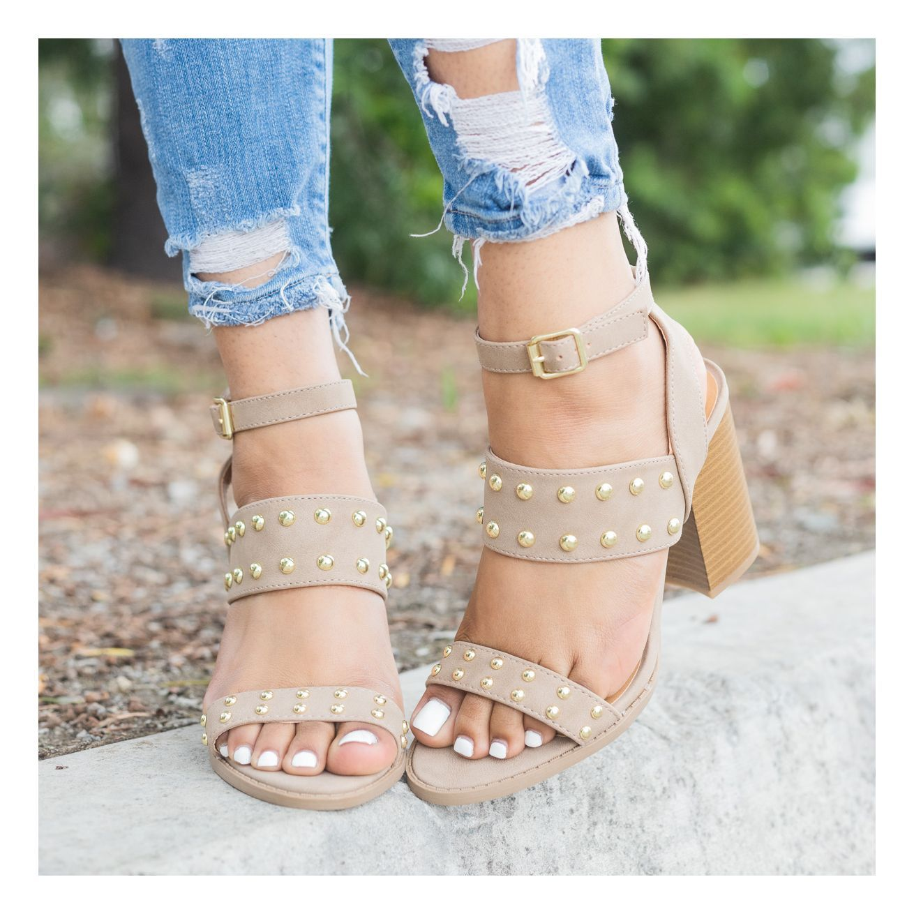 Taupe Studded Strappy Chunky Heels | | W E A R | | Shoes ...