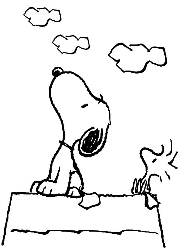 Snoopy Snoopy And Woodstock Looking At The Sky Coloring Pages