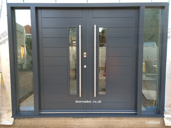 Grey contemporary double doors grey front door Gray front door meaning