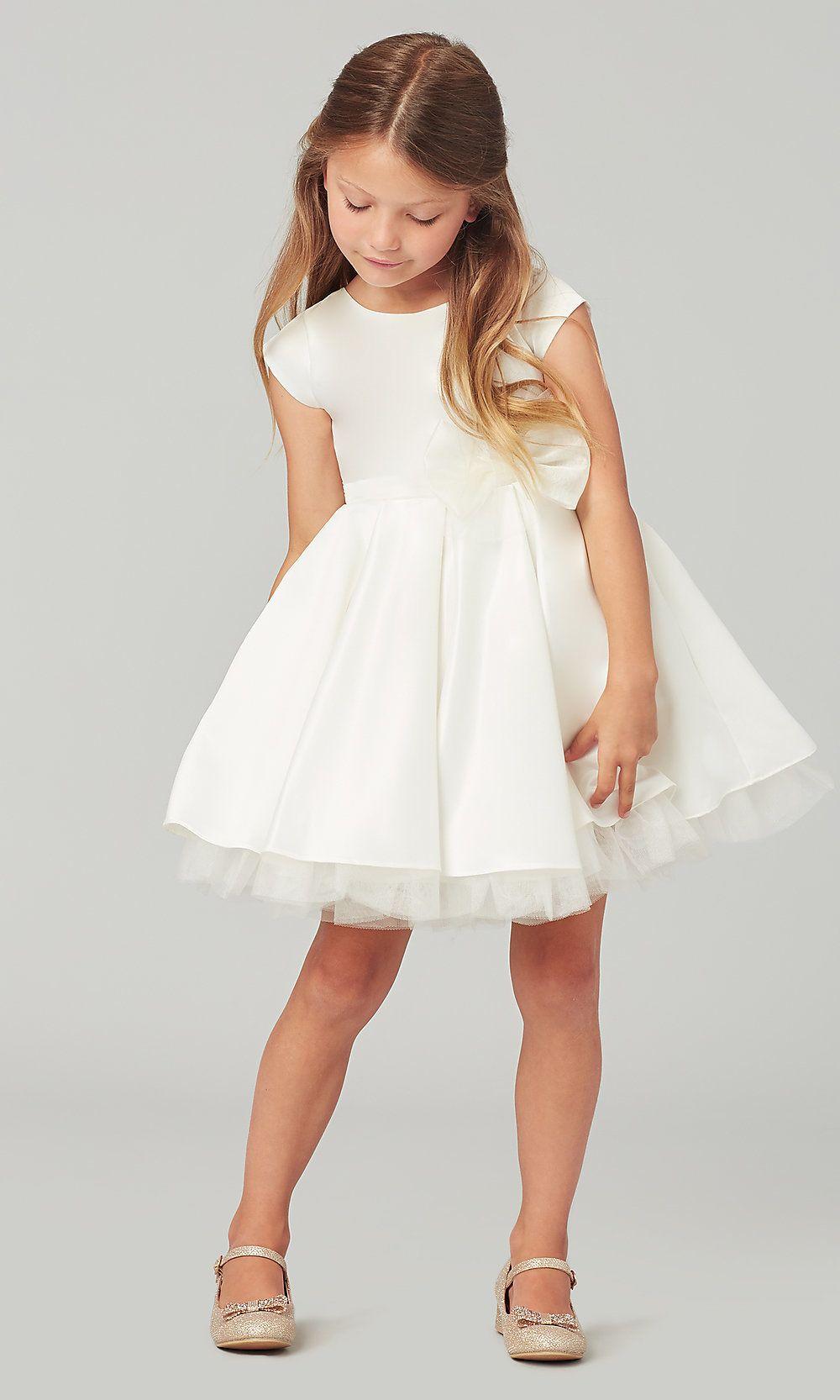 Capsleeve short flowergirl dress with chiffon bow