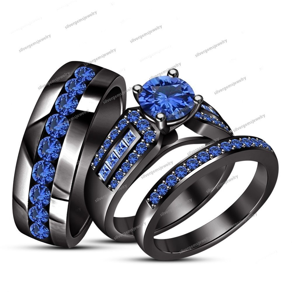 her his blue sapphire wedding bridal trio ring set 14kt black gold filled - Black Gold Wedding Ring Sets