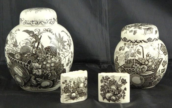 "Mason's - Black ""Fruit Basket Large 6.75"" Ginger Jar, Small Ginger Jar and Tooth Pick Holders (2)"