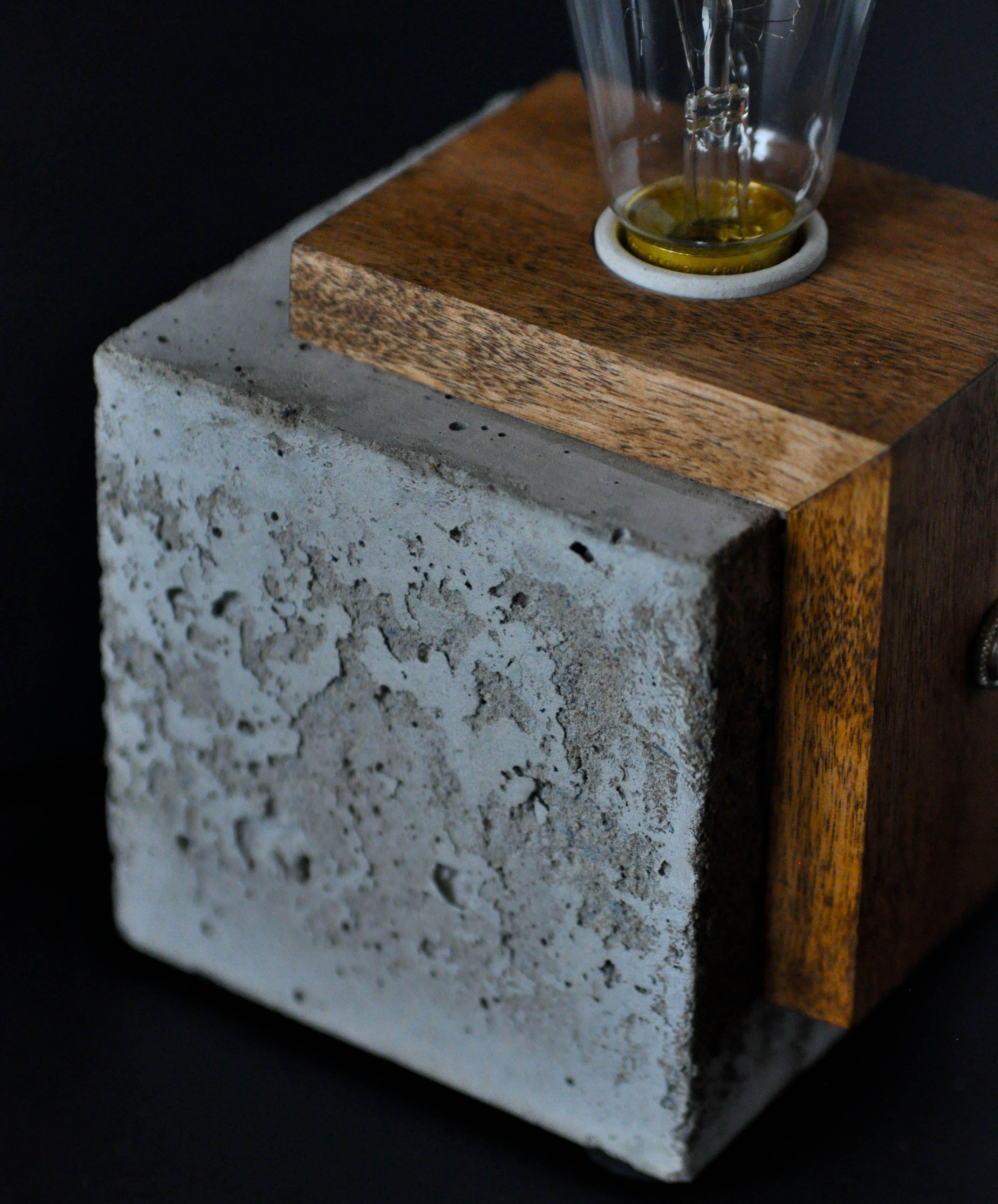 Concrete & Wood Cube Lamp Table Lamp