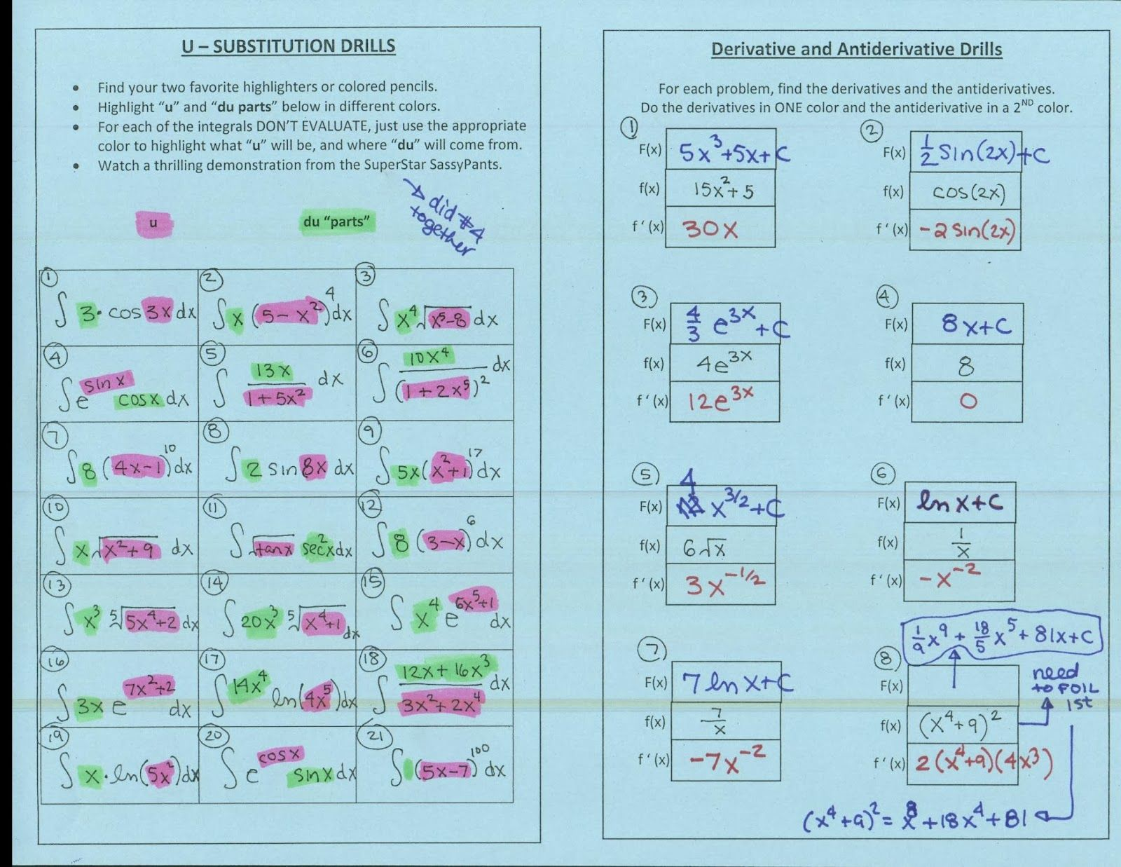 U-Substitution Drills (highlight the \