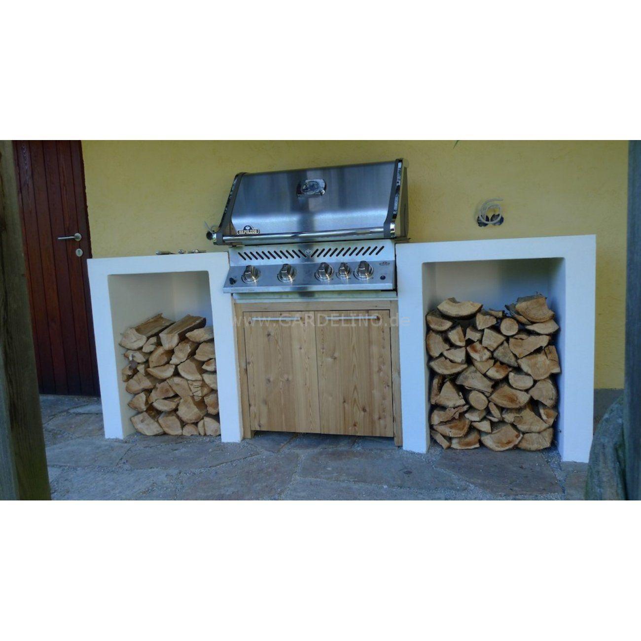 Grillstation aus Stein und Holz mit Napoleon Grill // Easy grill ...