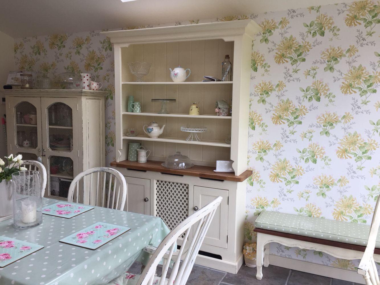 Amazing Kitchen Dresser. Laura Ashley Bramley And Honeysuckle Wallpaper