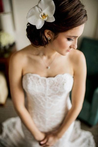 Updo for bride - low, side bun with white orchid Alisa Sue Photography #sideUpdos #lowsidebuns