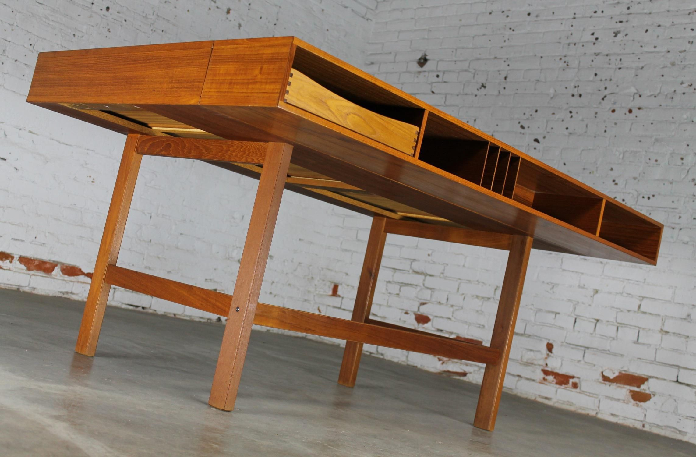 Incredible Mid Century Danish Modern Teak Flip Top Partner S Desk Attributed To Peter Lovig Nielsen And Produced By Heden Mid Century Danish Partners Desk Teak