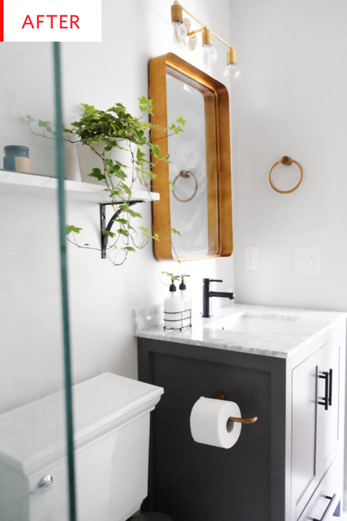 Gray Bathroom Vanity With Marble Tiles Remodel Photos Apartment Therapy