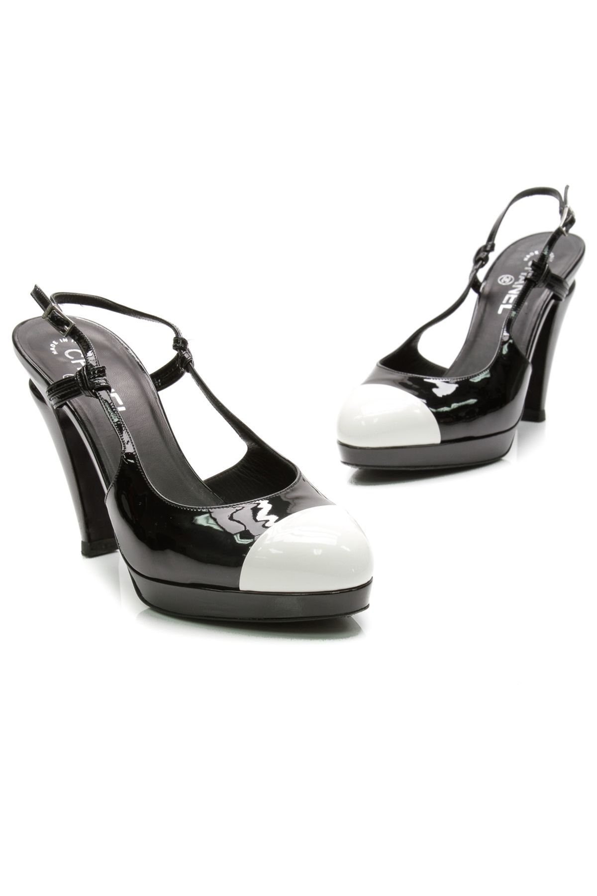 cc886f19605 Chanel Black   White Patent Leather Cap Toe Slingback Pumps - Our Price    319.99