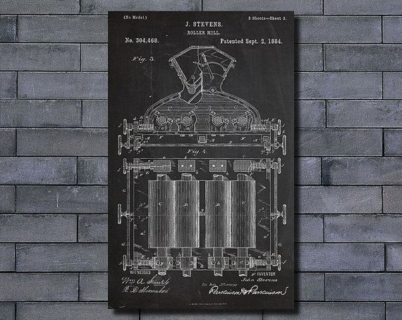Roller mill patent poster art print home decor blueprint wall art roller mill patent poster art print home decor blueprint wall art poster illustration canvas art prints malvernweather Gallery