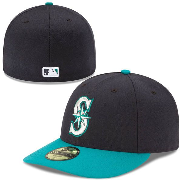 Men s Seattle Mariners New Era Navy Aqua Authentic Collection Low Profile  Home 59FIFTY Fitted Hat 15dc1e889bf