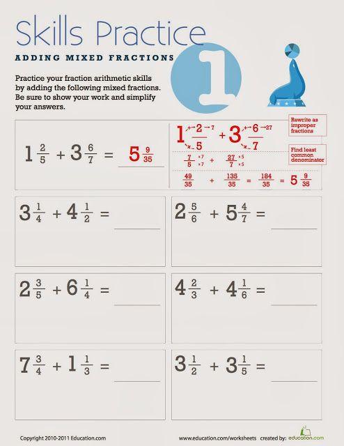 Fifth Grade Fanatics Adding Mixed Fractions Mixed Fractions Fractions Worksheets