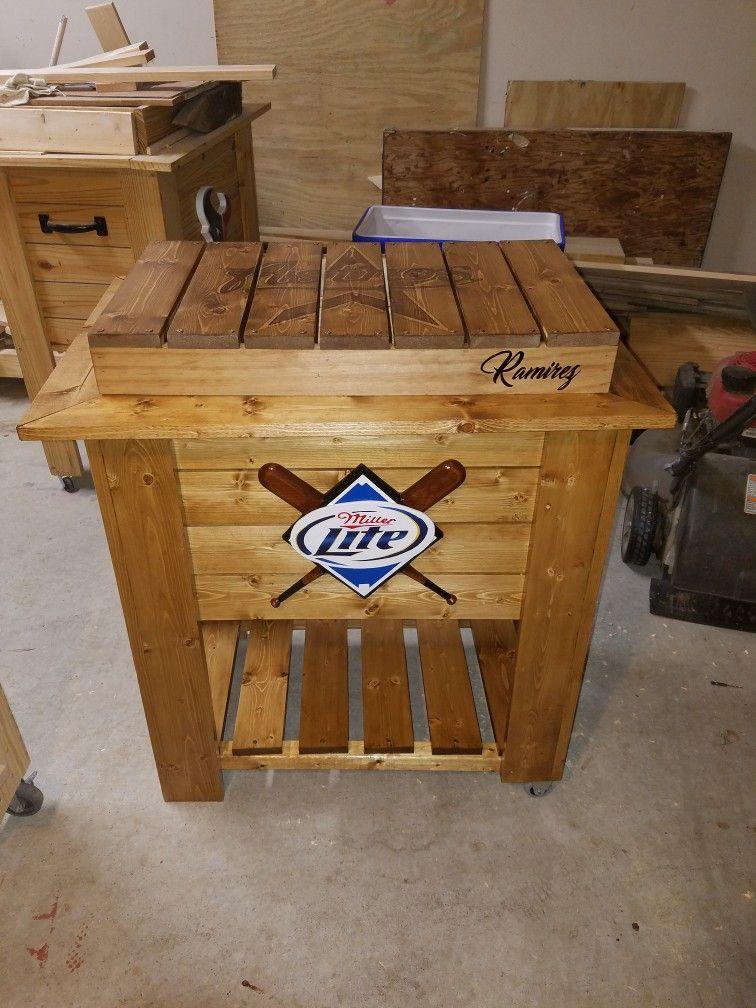 Miller Lite Astros Custom Wooden Cooler Custom Wooden Coolers