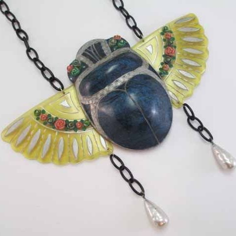 RARE French Scarab Necklace 1920s Puffy Celluloid Apple Juice Huge