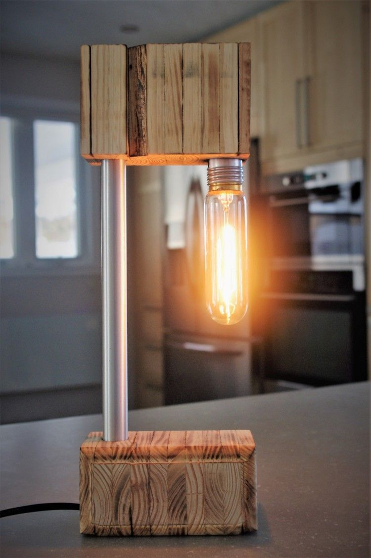 The Recycled Wooden Desk Lamp iD Lights | Wooden desk lamp