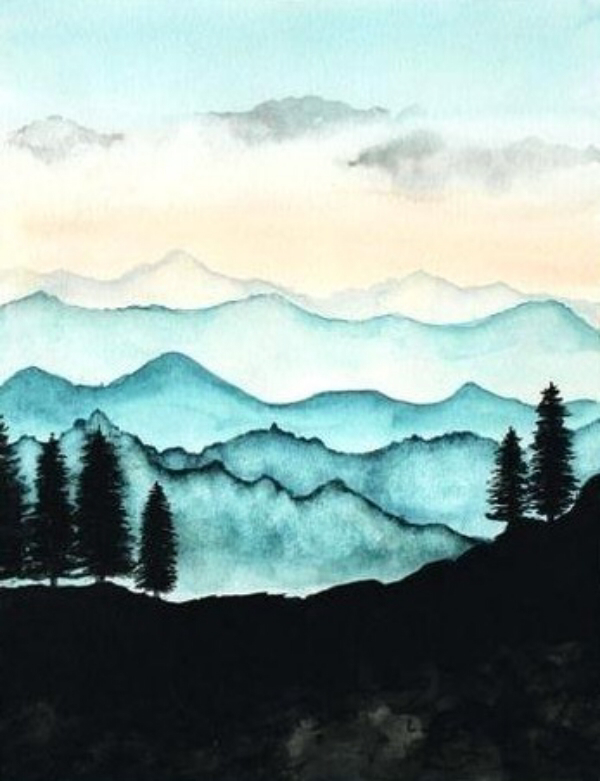 35 Easy Watercolor Landscape Painting Ideas To Try Cartoon District Watercolor Landscape Paintings Watercolor Paintings Easy Easy Watercolor