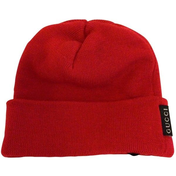9dece6f3866 Pre-owned Gucci Wool Beanie ( 88) ❤ liked on Polyvore featuring  accessories