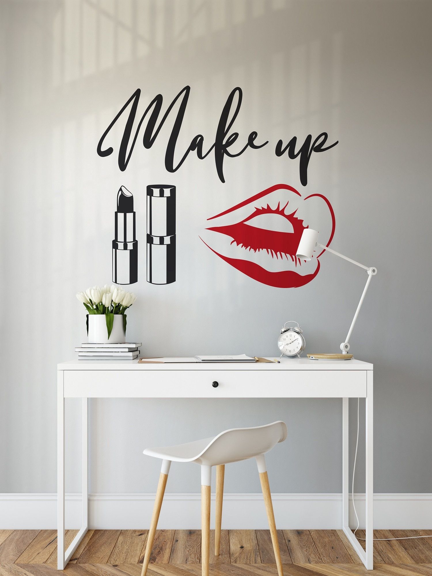Makeup Wall Decal Beauty Salon Wall Sticker, Red Lips