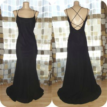 90s prom dress | Vintage 90s 30s Black Open