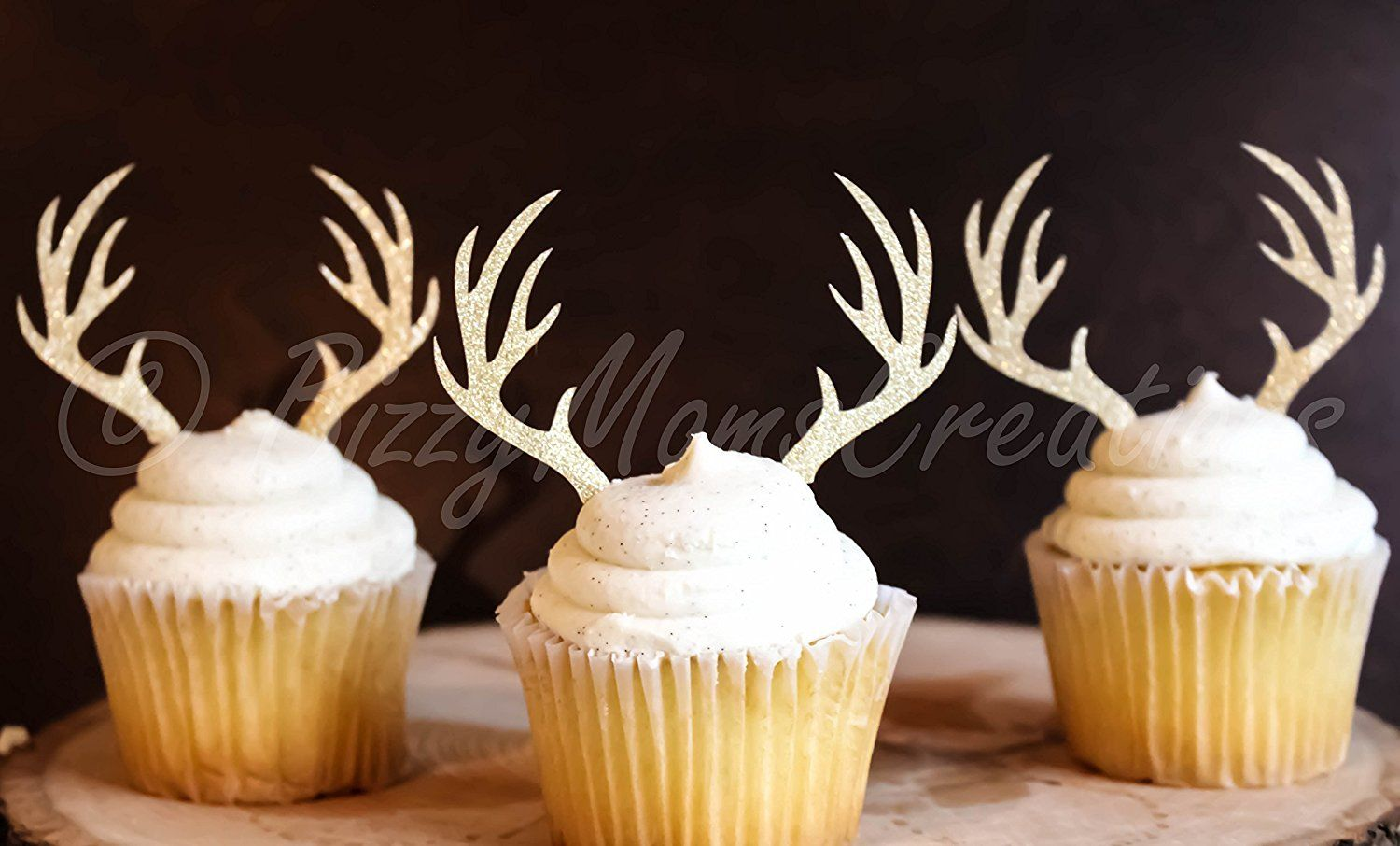 Rustic Party Decorations Deer Cupcake Toppers Cupcake Toppers Antler Cupcake Toppers Gold Party Decor Qty 12