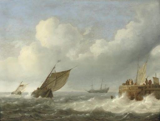 Zeilschepen in woelige wateren met figuren op een kade nabij, toegewezen aan Jan Porcellis