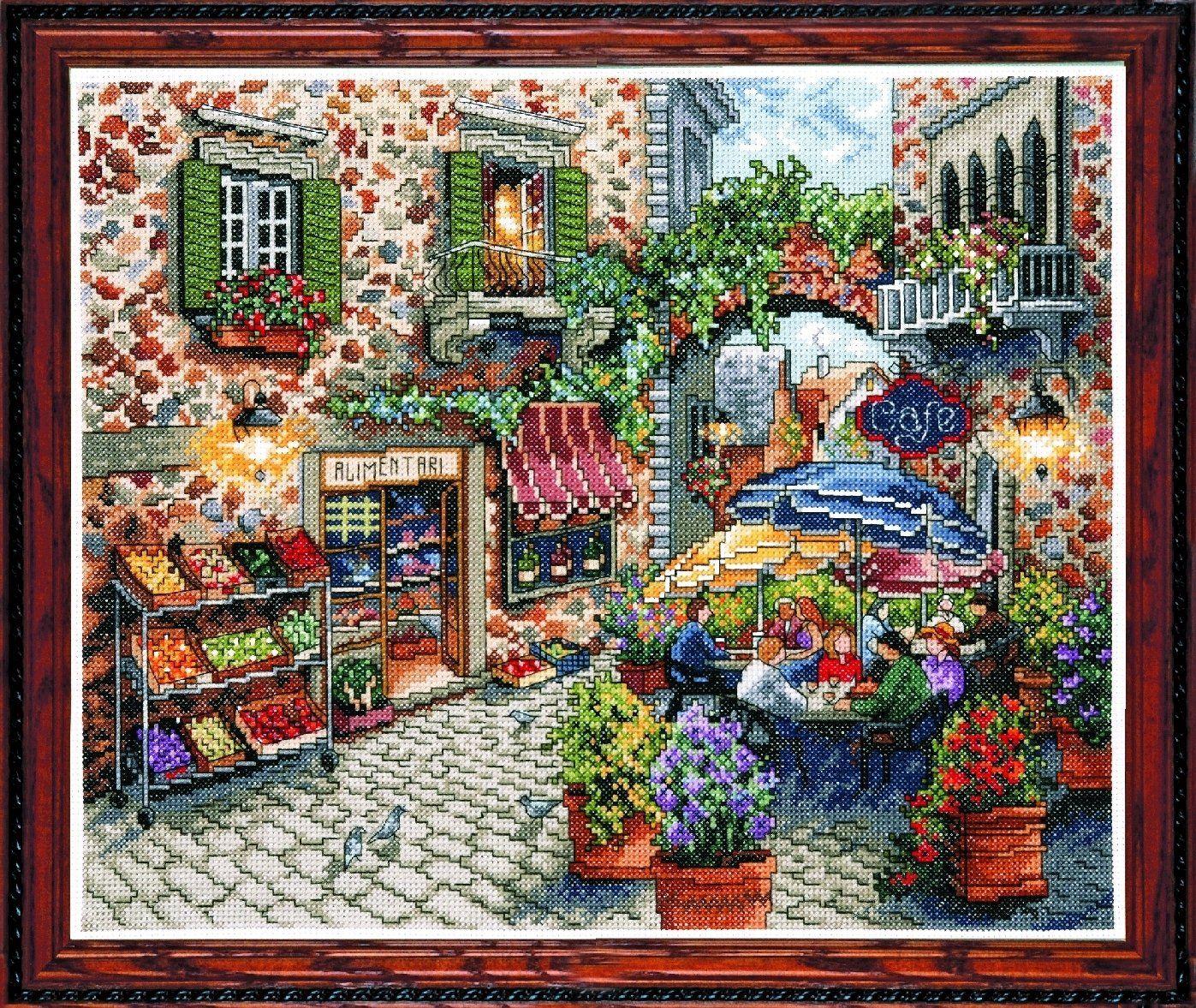 Design Works - Quadro a punto croce di un vicolo con caffè, multicolore: Amazon.it: Casa e cucina
