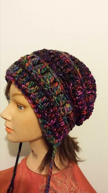 In-stitches 2 Earflap Slouchy Beanie pattern by Healing Yarns ...