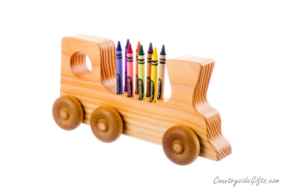 crayon holder wooden train crayon holder handcrafted natural and