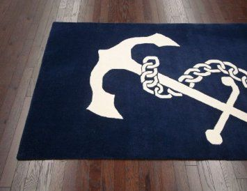 Amazon Com 5 X 8 Nautical Anchor Area Rug In Navy Hand
