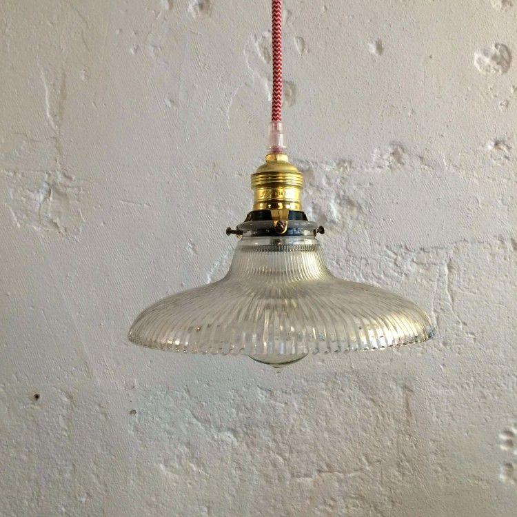 Plafonnier suspension vintage ancien abat jour en verre
