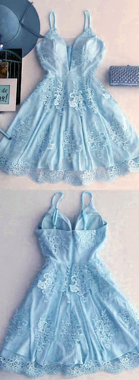 Light blue homecoming dressshort prom dressvneck cocktail dress