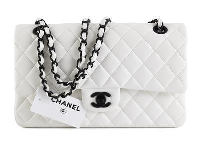 6af5bae279a4 BAG, CHANEL, Ltd, 2.55 Flap bag, white quilted lamb skin, black antiqued  metal details, 25x15x6 cm, hologram 14885412, certificate, dustbag.  Shopcondition.