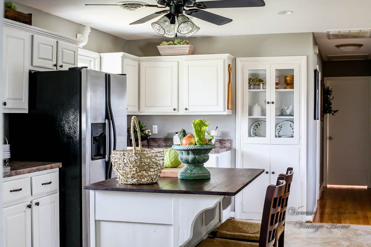How I Painted My Kitchen Cabinets Without Removing The Doors Kitchen Cabinets And Countertops Painting Kitchen Cabinets White Kitchen Cabinets