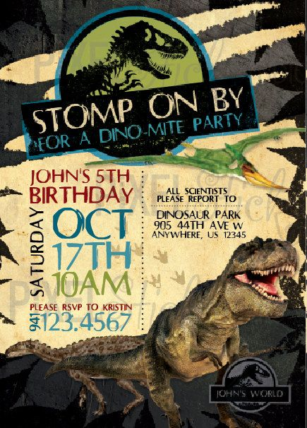5x7 Jurassic World Birthday Invitation By
