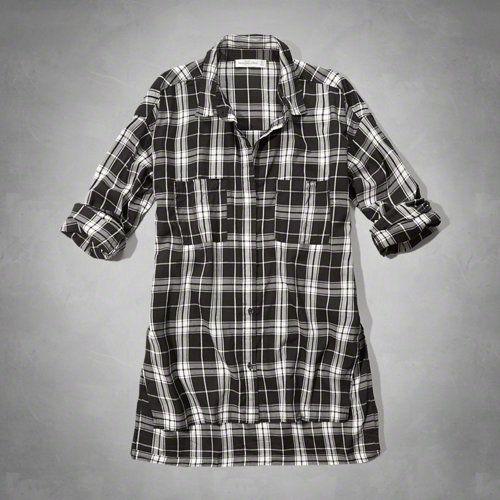 Plaid Split Hem Boyfriend Shirt