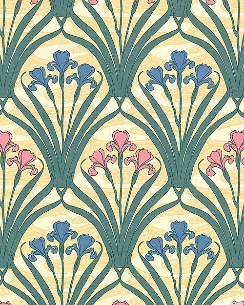 Art Nouveau William Morris Iris Buttercreme Art Nouveau