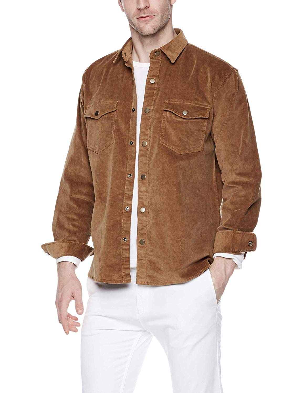 Hajotrawa Men Dress Work Business Slim Solid Pocket Button Down Shirts