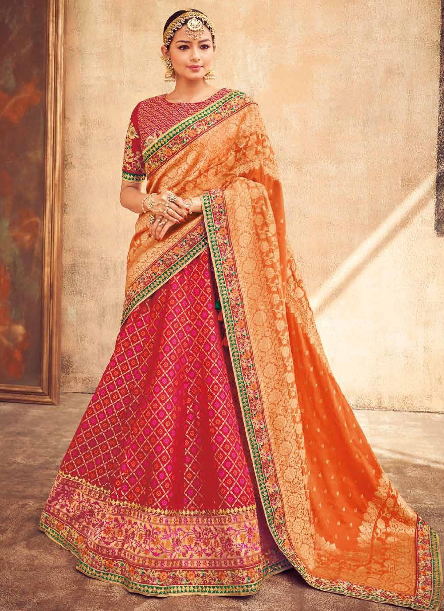 bab7ad94a9 Buy Red and Orange silk Indian wedding lehenga in UK, USA and Canada ...