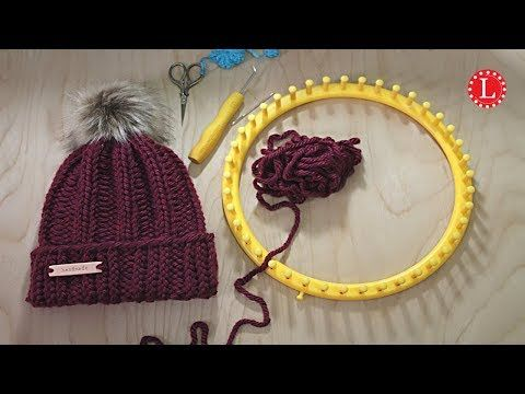 LOOM KNITTING Hat - Easy Chunky Rib Stitch Beanie Slouchy - YouTube #loomknitting