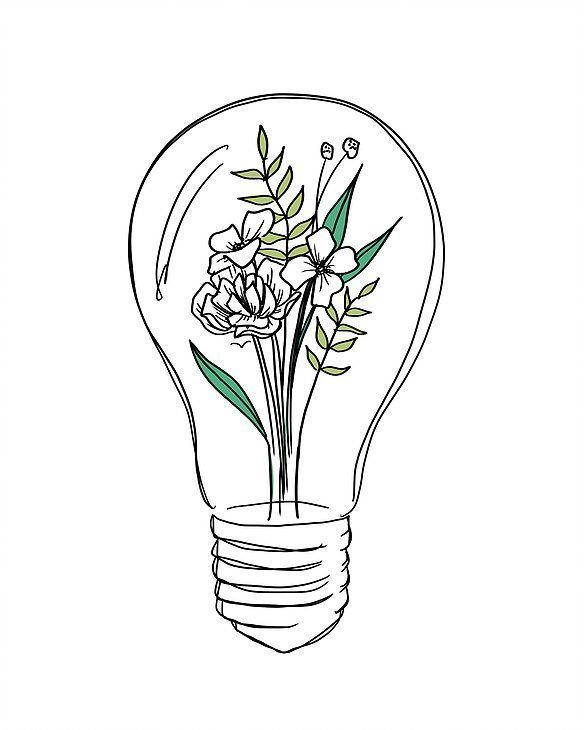Light bulb flowers drawing Peggy Dean surreal hybrid illustration - Rebel Without