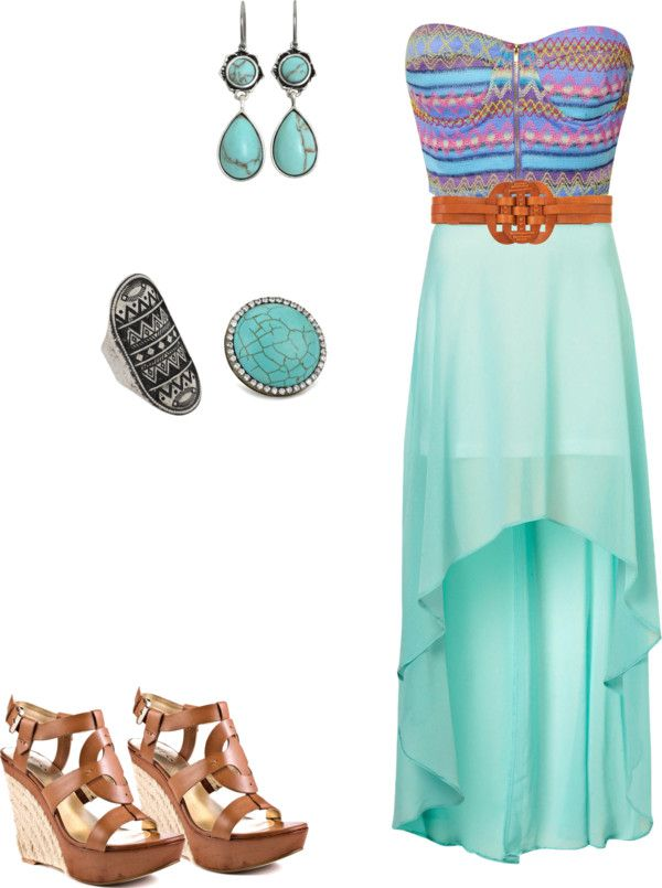 """""""Tribal dress with turquoise jewelry"""" by abbie-isham on Polyvore"""