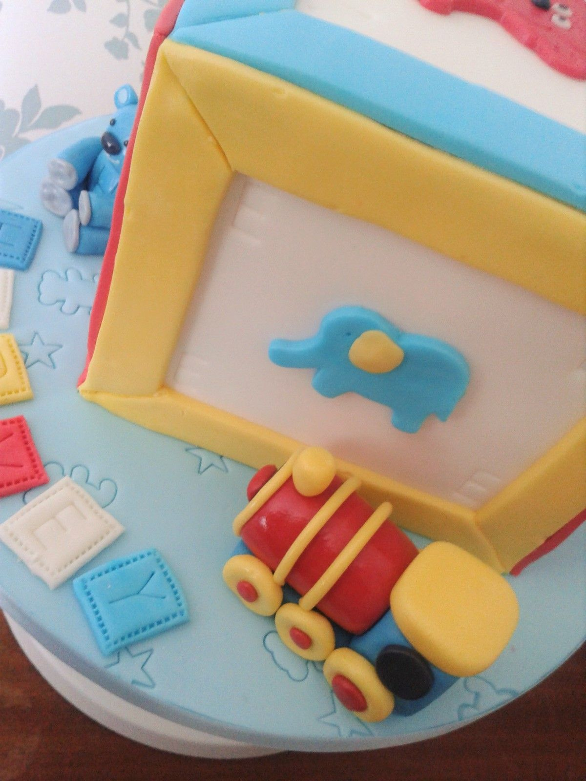 Building Block First Birthday Cake